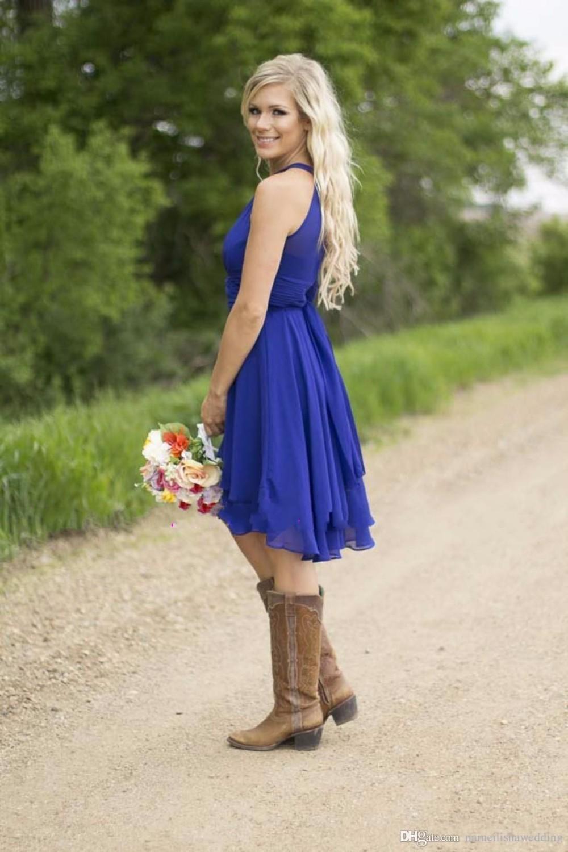 96eb90c25db 762800598b7780347e3e49827cfcfffd conew1 Cheap Country Bridesmaid Dresses  Short 2016 Modest Royal Blue Jewel Neck Beach Wedding Guest Wear Plus