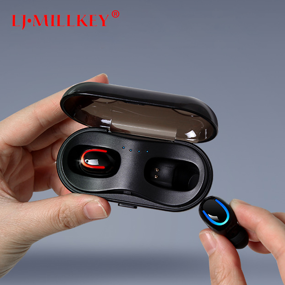 TWS Bluetooth V5.0 Headset Sports Wireless Earphones 3D Stereo Earbuds Mini in Ear Dual Microphone With Charging box YZ241