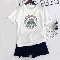 Namorado Estilo Coreano Chic Mulheres Encabeça Impressão Flamingo Cor de Rosa Branco Dos Desenhos Animados T-shirts de Algodão Da Forma Das Mulheres Por Atacado 418