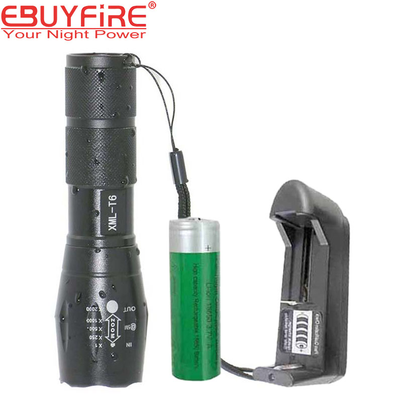 Ebuyfire LED linterna de alta brillante mini E17 18650 batería flash lámpara xm-l T6 5 MODO DE zoomable impermeable de la antorcha de gran alcance lanterna