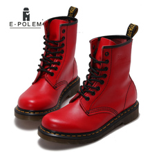 Women Boots Ankle Red Leather Genuine Motorcycle Footwear Shoes Fashion Manual Rock Retro Cowhide Keep warm