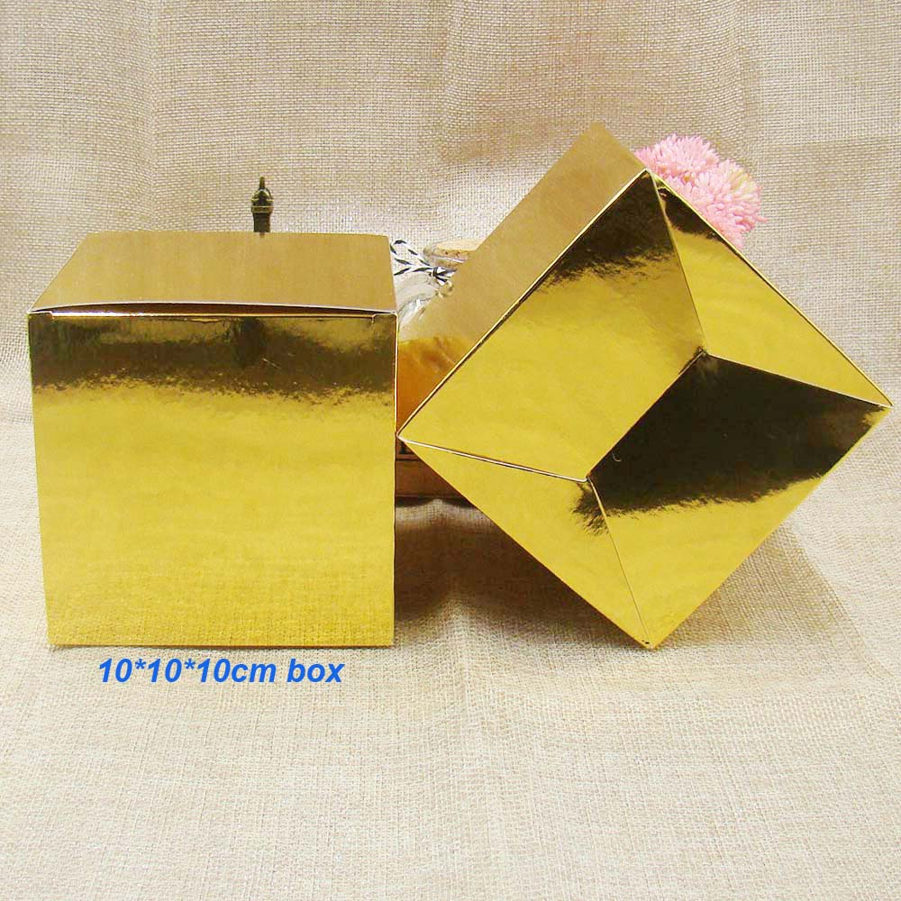 10*10*10cm30pcs gold Wedding Paper Candy Boxes Gold Baby Shower Gifts box For Guest Birthday Party Christmas Decoration Supplies