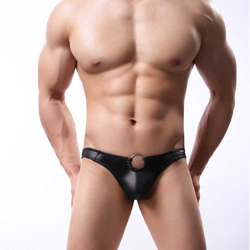 Mannen Ondergoed Faux Leather Heren Slips Bikini G-string Thong Sexy Erotische Lingerie Penis Pouch Ring Thongs G String Homme T -Back