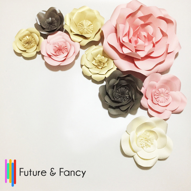 Giant paper flowers set 9pcs for wedding backdrops decorations for giant paper flowers set 9pcs for wedding backdrops decorations for wall girls baby shower mix mightylinksfo