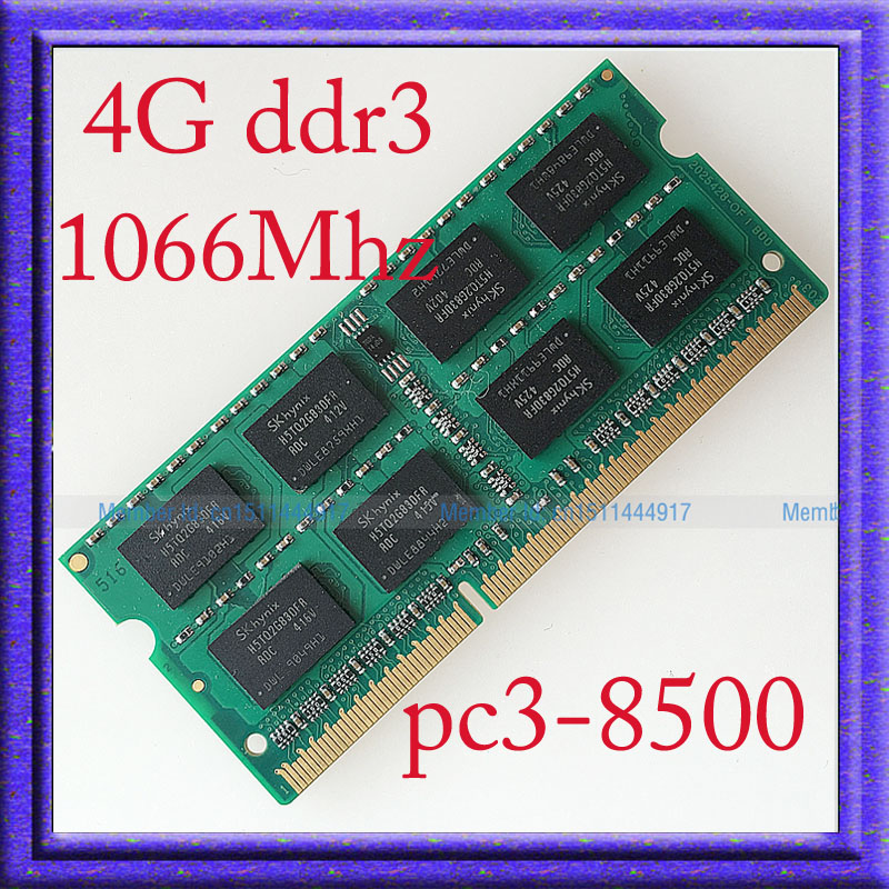 NEW 4GB PC3-8500 DDR3-1066 DDR3 1066MHZ 4gb Laptop Memory 204PIN RAM sodimm 1066 204-pin Notebook MEMORY Upgrade Free Shipping