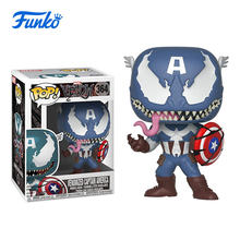 лучшая цена FUNKO POP! 1pcs Marvel Venomized Captain America Theme Family Party Boy Girl Birthday Vinyl Doll Gift Vinyl Action&Toy Figures
