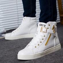 Hip hop gz zapatillas de cuero Casual Zapatos bailando rock street fashion  sneakers high top vulcanizados Hombre Zapatos Hombre 91ed907b305