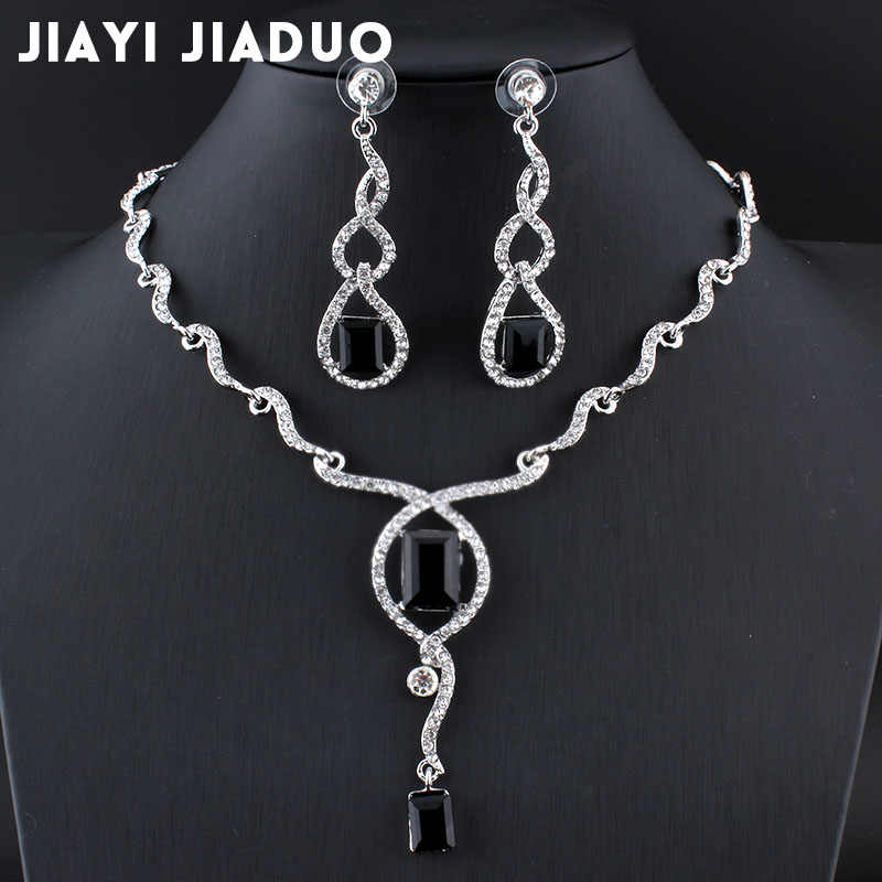 jiayijiaduo Bridal jewelry sets for women wedding jewelry set for brides wedding accessories Silver Colour jewelry set necklace