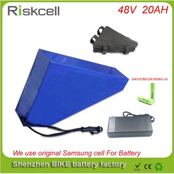 A grade quality 48v 20ah triangle battery 48v ebike battery 48v 1000w li-ion battery pack for electric bicycle For Samsung cell 48v 34ah triangle lithium battery 48v ebike battery 48v 1000w li ion battery pack for electric bicycle for lg 18650 cell