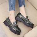 Brand Oxford Shoes for Women Vintage Women Loafers Real Leather Brogues with Buckle Platform Shoes Woman Flats Zapatos Mujer