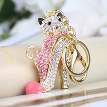 Women Crystal High Heeled Rhinestone Keychain Purse Pendant Bags Cars Shoe Ring Holder Chains Key Rings For Women Gifts