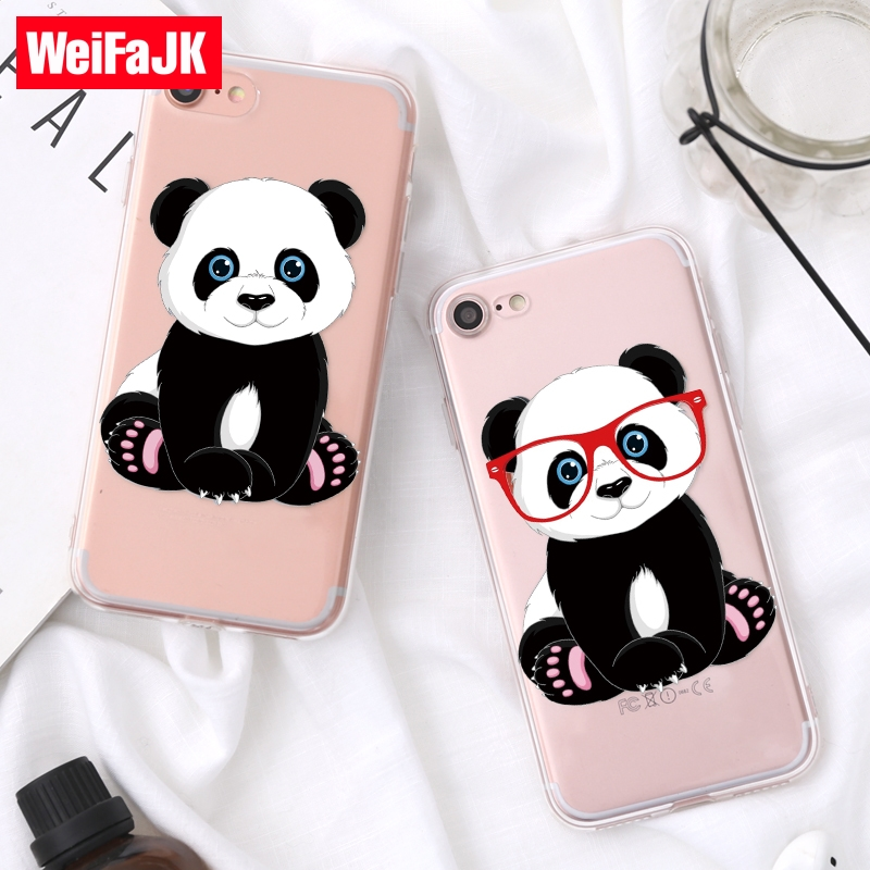 WeiFaJK Cute Cartoon Unicorn Panda Case for iPhone 6 6s 5s 7 Silicone Clear Soft Cover Case for iPhone 7 8 Plus Case 6 5 Coque keeping warm in rv during winter