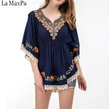 5XL Size Cotton Blouse Tunic Summer 2018 Fashion Casual Embroidery Blouses Women Shirts Batwing Sleeve Crochet Lace Peplum Tops