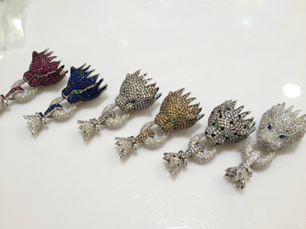 Top qualité résultats de bijoux et composants Animal léopard fermoir de collier cubique Zircon panther livraison gratuite bijoux de mode