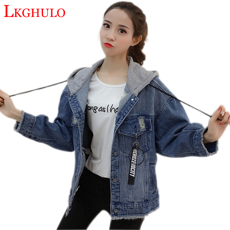 2018 Spring autumn new hooded denim   jackets   womens casual loose jeans   jacket   female denim   jacket   coat womens   basic     jackets   W330