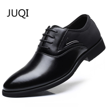 JUQI 2018 Men'S Dress Shoes Men Casual Shoes For Microfiber Leather Patchwork Brogue Loafers Moccasins Lace-Up Rubber Shoes
