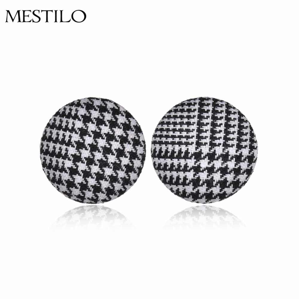 MESTILO Trendy Round Circle Black White Grid Cloth Button Ear Cuff Earrings For Women Fashion Clip Earrings Bijoux Brincos Clipe