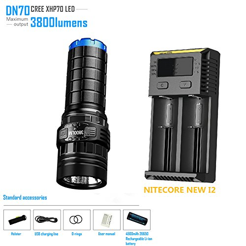 Rechargeable Flashlight IMALENT DN70 max. 3800LM beam throw 325m torch + 26650 4500mAh battery + NITECORE NEW I2 Smart Charger new nitecore r25 tactical flashlight 800lm xp l hi v3 led torch unmatched performance smart charging dock rechargeable battery