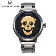 2017 Del Cráneo Del Pirata Estilo Pagani Cuarzo de Los Hombres Relojes de Marca Hombre Militar de Silicona Para Hombre Reloj Deportivo Impermeable Relogio masculino