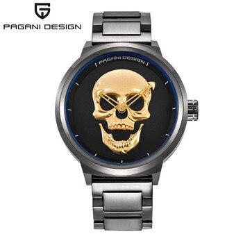 8dcd092d3686 PAGANI 2019 pirata estilo del cráneo de cuarzo de los hombres de la marca  de relojes de militar de acero inoxidable de los hombres reloj deportivo ...