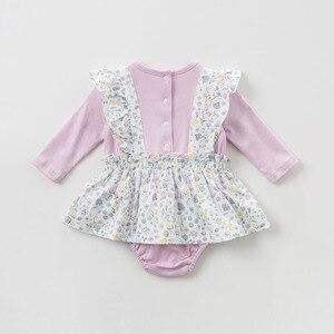 Image 3 - DBH10042 dave bella 6M 3Y yeni doğan rompers bebek uzun kollu çiçek tulum bebek yürümeye başlayan butik onesies kız romper
