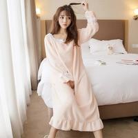 Flannel Night Dress Women Winter Home Clothes Korean Style Long Nightgown Sleepwear Sweet Sleeping Gown Princess Nightgown