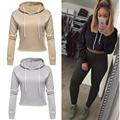 New Fashion Women Casual Drawstring hood Pullover Fleece Crop Sweatshirt Cropped Hoodies Long Sleeve Short Tops 2016