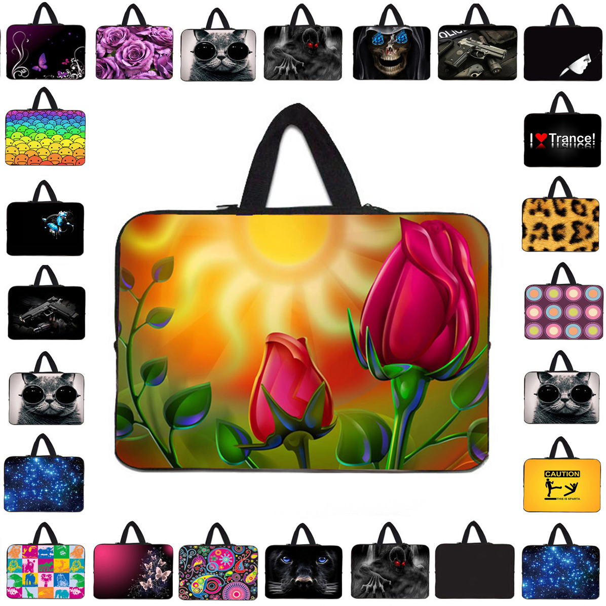 Unique 17 15 14 13 12 10 17.3 15.4 13.3 14.1 Inch Laptop Notebook Handle Neoprene Bags Carry Cover Cases Pouch + Hide Handle Hot
