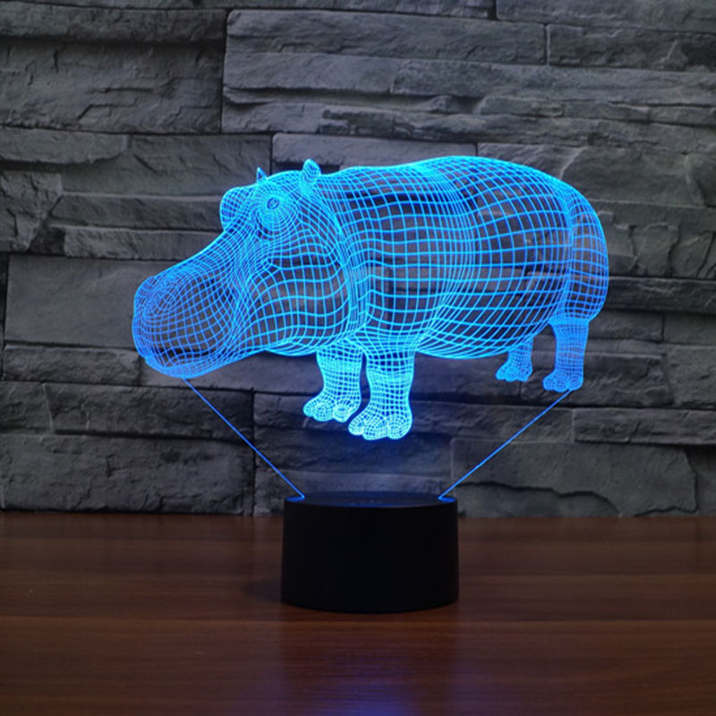 Color Changing Rhinoceros Night Light and Babies 3D Cartoon Led Lamp Touch Switch USB Novelty Light For gifts