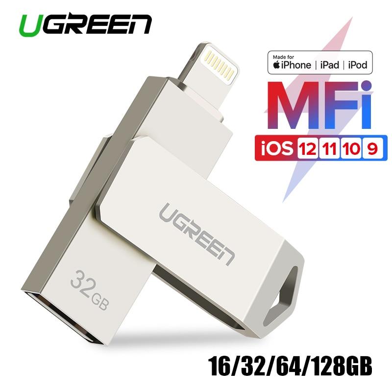 Ugreen USB Flash Drive USB Pendrive pour iPhone Xs Max X 8 7 6 iPad 16/32/64 /128 gb Memory Stick Clé USB MFi Foudre Pen drive