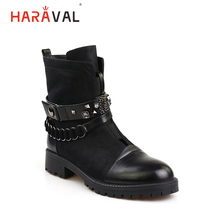 HARAVAL Handmade Winter Ankle Boots Women Vintage Warm Round Toe Square Low Heel Shoes Quality Zipper Chain Buckle B194