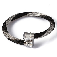 Fashion Silver Black Cable Bangle 316L Stainless Steel Unisex Style Twisted Cable Wire Bangle Pulseira