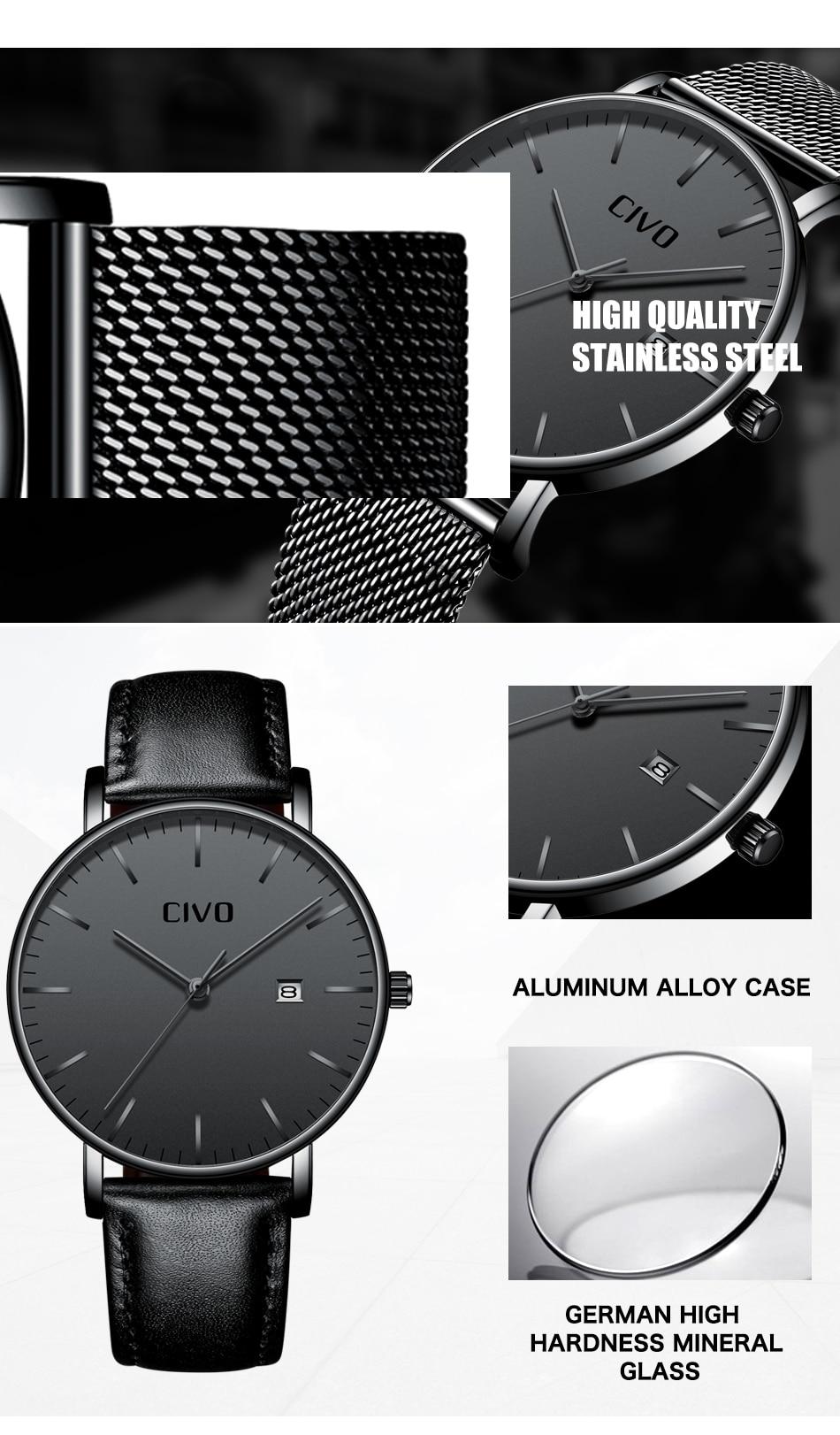 CIVO Men Watch Ultra Thin Minimalist Waterproof Date Wrist Watch For Men Black Genuine Leather Business Fashion Watch Men Clock 9