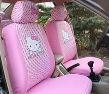 Meimei Bear 6PCS Cute Hello Kitty Car Front Seat Covers Four Seasons Universal Car Seat Interior Accessories for Women – Pink