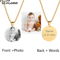 UZone Custom Engraved Blank Necklace Personalized Photo Name Necklace Can Drop Shipping
