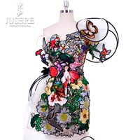 One Shoulder Embroidery Sequin Crazy Attractive Zipper Back Colorful Young Lady New Arrival Sheath Short Flower