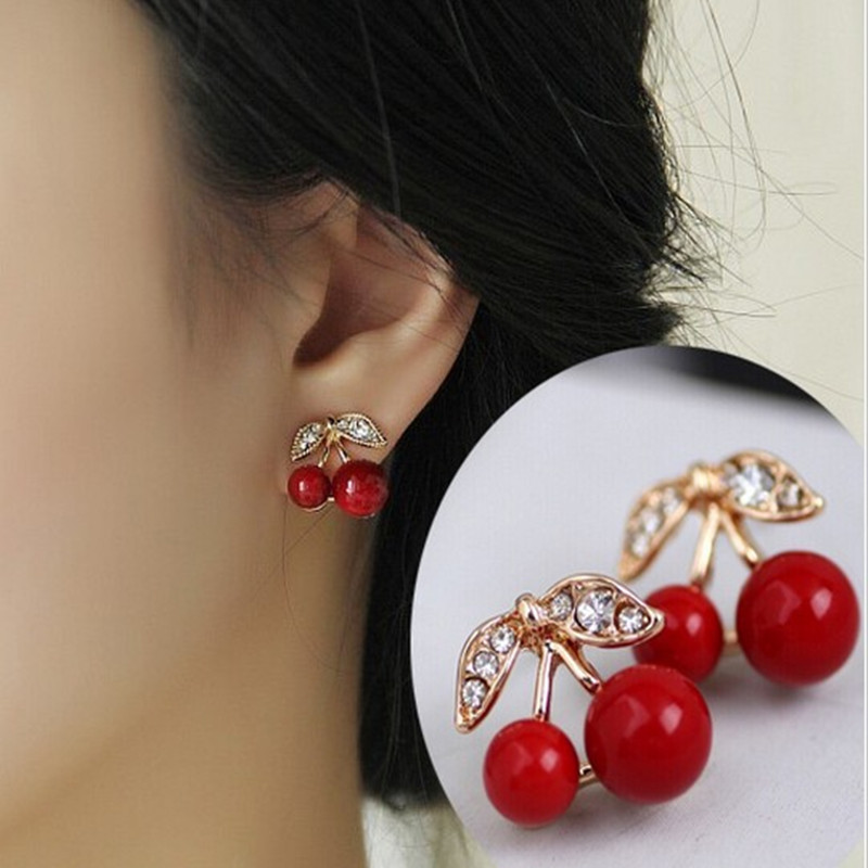 Ahmed Jewelry Fashion Red Big Cherry Stud Earrings For Woman Crystal Earring 1Pair