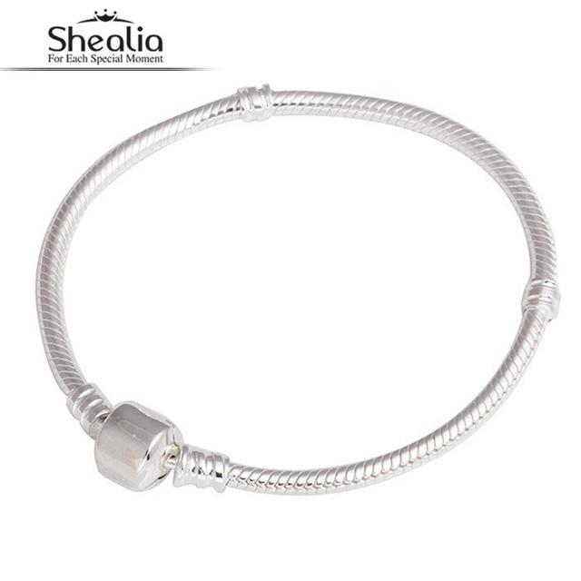 Shealia 925 Trébol de Plata Clip de La Serpiente Pulsera de Cadena Para las mujeres Con Logotipo de la Marca Para Las Pulseras Del Encanto y Brazaletes de La Joyería Diy