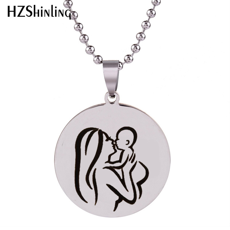 2018 New Stainless Steel Mother's Day Charms Pendant Holiday Gift Charms Necklace Silver Jewelry Ball Chain Gifts For Men Hz7 Comfortable And Easy To Wear