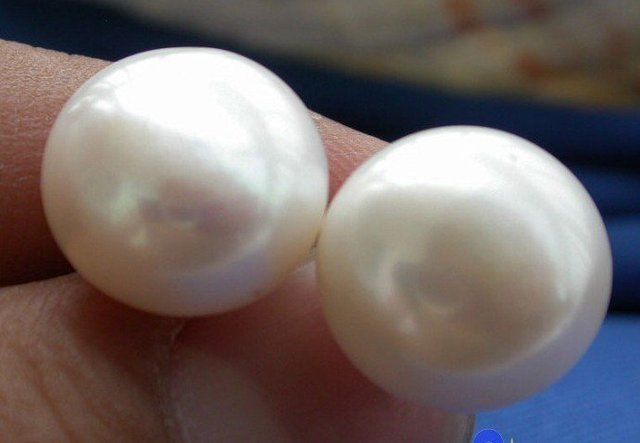 14K AAA++ REAL 11-12mm ROUND AKOYA WHITE LOOSE PEARL  EARRING