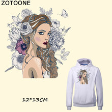 ZOTOONE Beautiful Fashion Girl Iron on A-level Patches Heat Transfer Pyrography for DIY T-Shirt Clothing Decoration Printing E