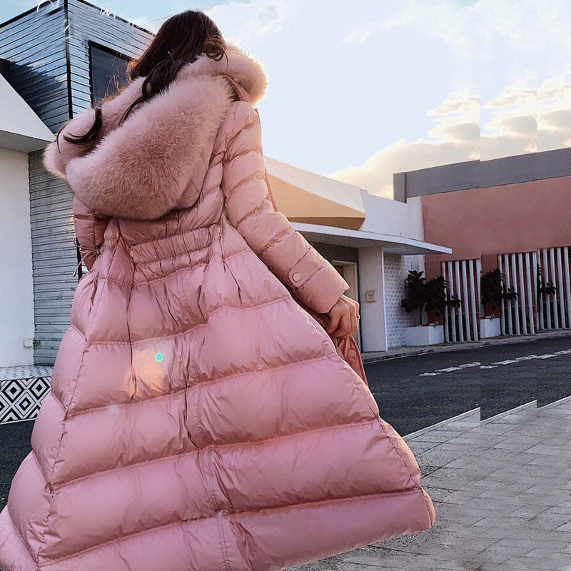2019 Female Thicken Warm Winter   Down     Coat   Women Large Real Natural Fox Fur White Duck   Down   Parka Hooded Winter Jacket Women