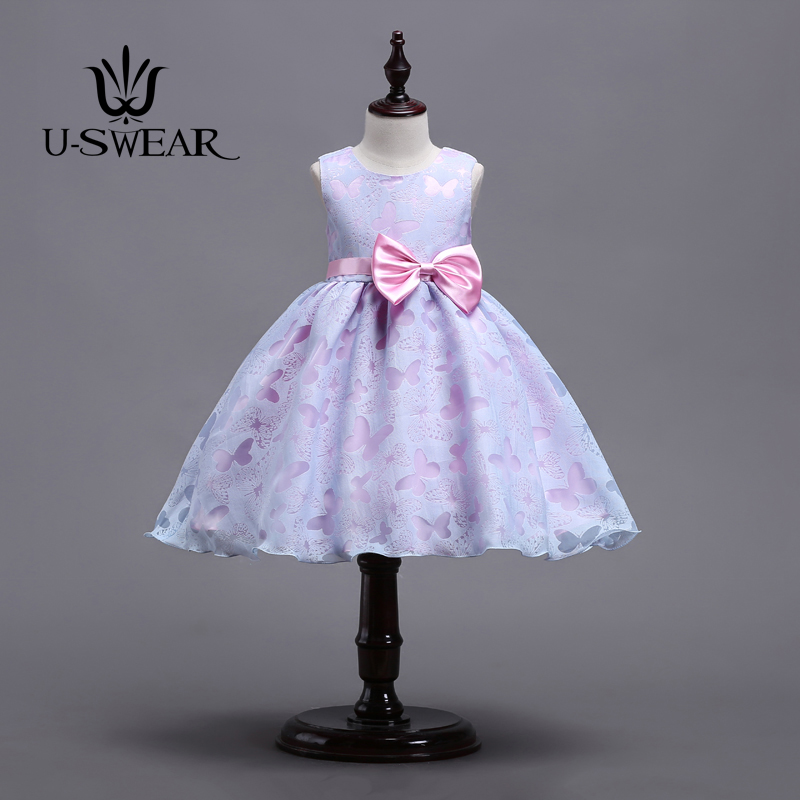U-SWEAR 2018 New In Kid 2 Colors Butterfly Pattern Bow   Flower     Girl     Dresses   Ball Gown For Wedding Communion   Dresses   Vestido