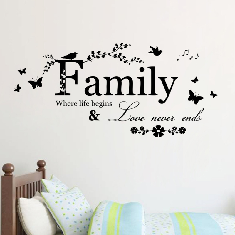 Family Love Never Ends Quote Vinyl Wall Decal Wall Lettering Art Words Wall Sticker Home Decor Wedding Decoration Living Room