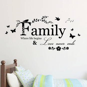 Family Love Never Ends Quote Vinyl Wall Decal-Free Shipping Living Room Wall Stickers With Quotes
