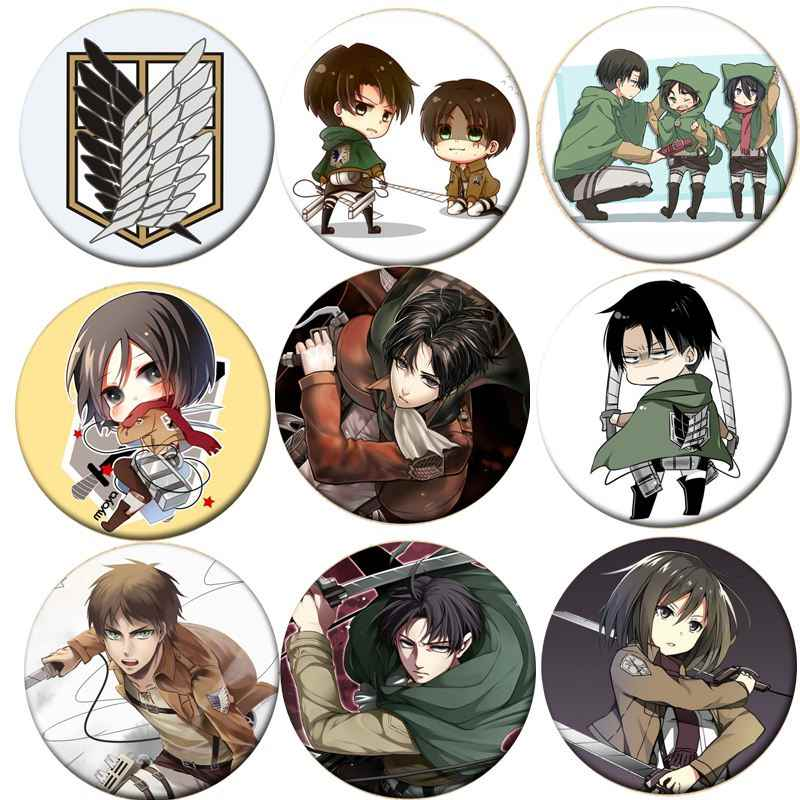 1Pcs Hot Anime Aanval Op Titan Cosplay Badge Cartoon Eren Broche Pins Collection Tassen Badges Voor Rugzakken Knop Kleding