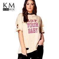 Kiss Milk 2017 Big Size Women Clothing Casual Loose O Neck Cut Out T Shirt Plus