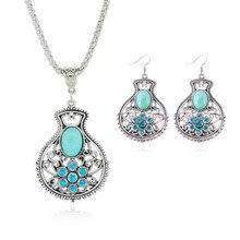 New Vintage Statement Necklace Rhinestone Turquoise Angel Tears Chain Pendants Silver Geometric Stud Earrings Women Lady