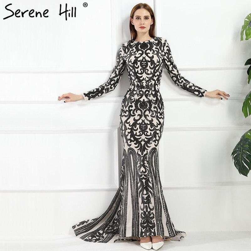 2018 Vintage Long Sleeve Muslim Luxury Mermaid Evening Dress Beading ...