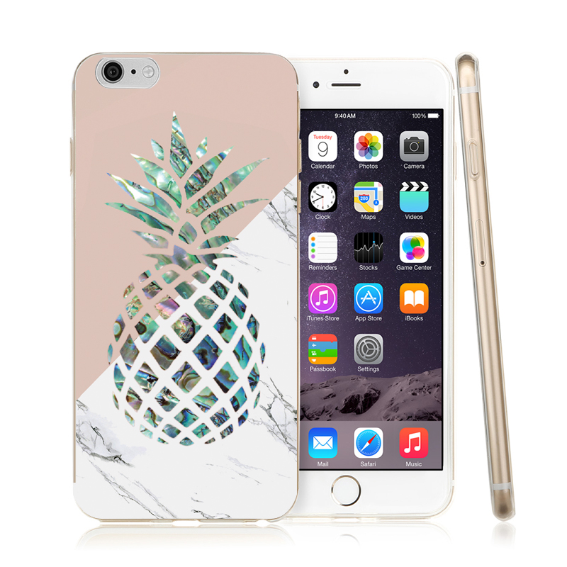 Gold Pineapple Phone Case For iphone 7 Case Geometric Splice Stone Marble Texture Pattern Cases For iphone 7 8 8 Plus X Cover